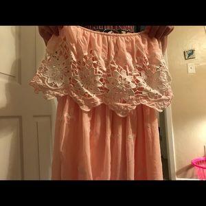 strapless ruffle & lace dress .